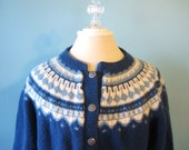 Handknitted cardigan sweater in blue Bauhaus style 100% wool Large