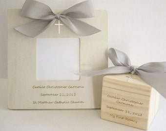 Gift for Baptism Gift for Christening Baptism Block and Baptism Frame set with sterling silver cross