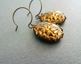 Gold Earrings, Geometric Earrings, Gold Geode, Vintage Gold Earrings, Retro Gold Earrings, Mod Earrings, Vintage Jewelry, Art Deco Earrings