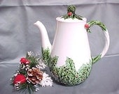 Lefton White Christmas Coffee Pot or Teapot, Vintage Ceramic Chocolate Pot, Mid Century Collectible Pottery, Holly and Berry Coffee Server