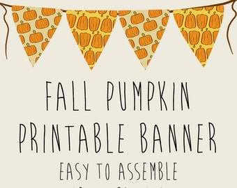 Fall Pumpkin Autumn Party Banner, Printable PDFs, Instant Download, Thanksgiving, Halloween