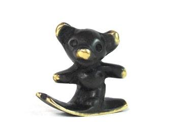 Walter Bosse Skiing Bear Figurine - Vintage Mid Century Original Austrian 1960s Brass Skiing Bear Miniature