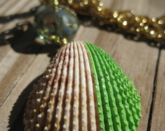 Lime Green Hand Painted Shell Necklace