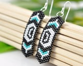 Pacific Northwest Native American inspired beaded earrings - Salish Killer Whale Orca earrings