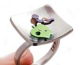 Apple and worm ring, miniature apple, green apple, apple silhouette, sterling silver ring, worm bin, handmade ring, teacher apple gift