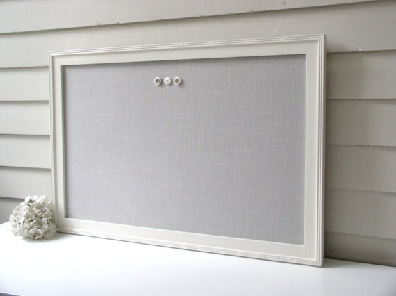 Linen bulletin board magnetic framed magnet memo board in for Linen cork board
