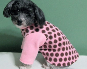 Pink Dog Pajamas with Chocolate Polka Dots