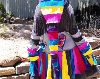 SALE....rainbow lacey.....elf coat....earth friendly,patchwork,pixie hood, upcycled rainbow sweater coat ...