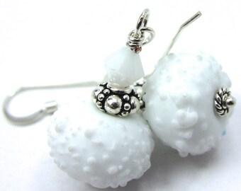 Winter White Earrings, White Snowball Lampwork and White Alabaster Swarovski Crystal