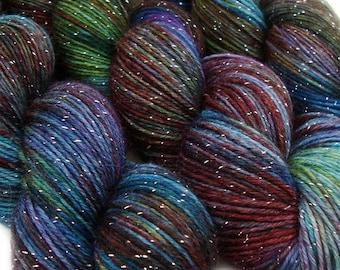 DESTINATIONS glitter sock yarn STOCKHOLM hand dyed sw merino nylon stellina 3.5oz 435 yards