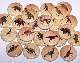 "Prehistoric Dinosaurs Party Favors Set Of 10 Buttons 1"" or 1.5"" Pin Back Buttons or 1"" Magnets"