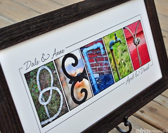 Custom Name Print, YOUR LAST NAME in Color Photo Letters, Print Only (unframed), last name sign