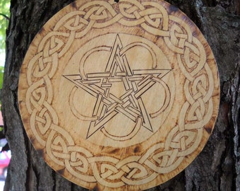 Wood burned pentacle and Celtic circle wall hanging