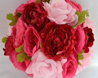 """17 Piece Package Wedding Bridal Bride Maid Of Honor Bridesmaid Bouquet Boutonniere Corsage Silk Flower PINK FUCHSIA """"Lily Of Angeles"""" FUPI01"""
