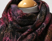 Hand Dyed, Nuno Felt Wrap on Cotton, Winter Flame Collection, Pinks, Browns and Russet
