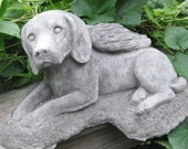Concrete Angel Beagle Statue or Memorial