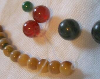 Assorted Natural Semi Precious Stone Beads Lot / Tigers Eye Malachite Garnet Sodalite Lapiz 15pc