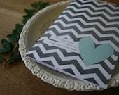 Love Greeting Card - Each Beat of My Heart - Gray Chevron Pattern Aqua Blue Heart Wedding Anniversary