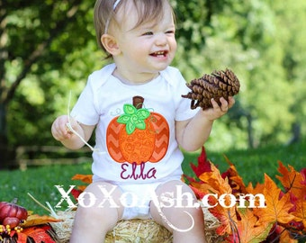 Girls Pumpkin Fall Shirt--Halloween--Embroidered shirt or Bodysuit