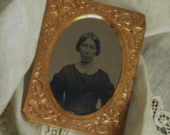 Ninth Plate Gold Foil Framed Tintype Civil War Era Woman
