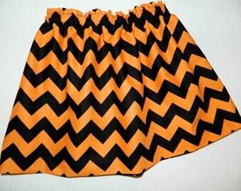 Girl, baby, toddler, tween Halloween holiday orange black chevron skirt NB 3m 6m 12m 18m 24m 2T 3T 4T 5T 6 7 8 10 12 14 16
