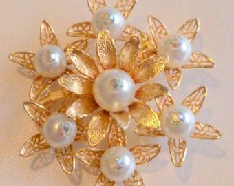 Vintage Faux Pearl Floral Bouquet Brooch