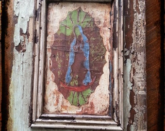 Our Lady Of Guadalupe on reclaimed wood