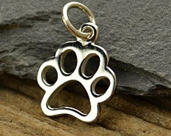 Sterling Silver Openwork Paw Print Charm Small - Puppy Charm, Dog Paw Charm, Pet Charms, Animal Charm