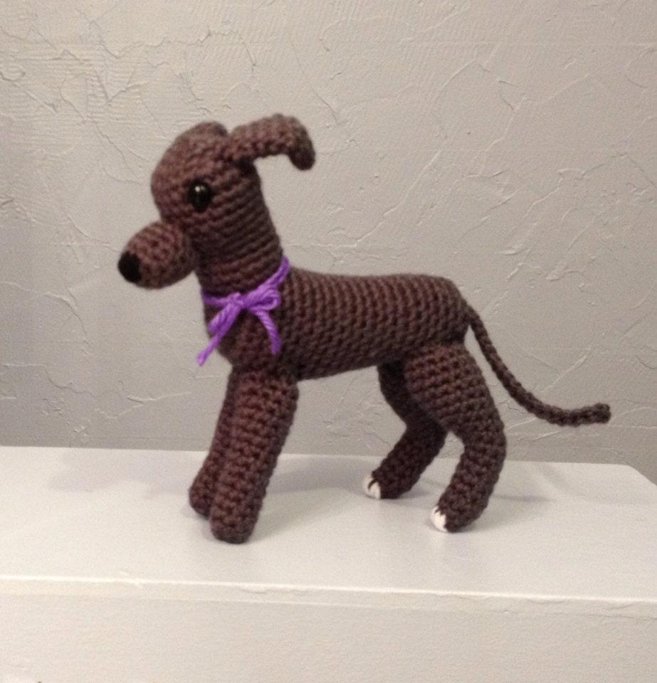 Greyhound Amigurumi Hand Crocheted crochet greyhound