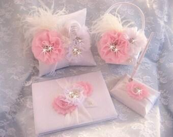 Guest Book and Pen Set, Flower Girl Basket, Ring Bearer Pillow,  Lavish and Custom Colors