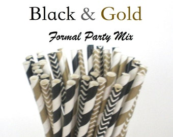 Black and Gold Paper Straws  Formal Elegant Mix Paper Drinking Straws Cake Pop Sticks Mason Jar Paper Straws Wedding, Birthdays, New Years