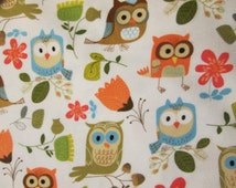 Owls Flowers Tulips Colors White Cotton Flannel Fabric Fat Quarter or Custom Listing