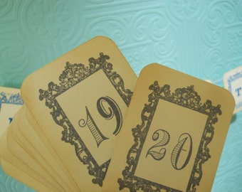 Grey Wedding Table Number Cards, grey numbers cards, Vintage frame, French Wedding, Victorian table cards, shower table numbers cards