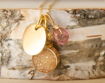Druzy Initial Necklace, Gold and Pink Initial Druzy, Wedding Party Necklace, Druzy Jewelry,  Sparkling Druzy Jewelry, Bridal Ideas