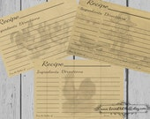 Rooster Recipe Card Set | Rustic Recipe Card 4x6 | Printable Recipe Cards 3x5 | Primitive Recipe Cards 3.5x5 | Hostess Gift | Party Favors