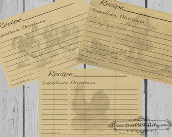 Printable Recipe Cards 4x6 | Blank Recipe Cards | 3x5 Rooster Recipe Cards | 3.5x5 Rustic Recipe Card
