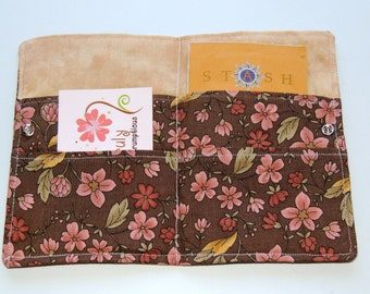 Brown and Pink Flowered Tea Wallet