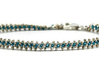 Capri Blue and Silver Bracelet - Karen Hill Tribe Silver - Minimalist Jewelry - Layering Bracelet - Beaded Jewelry - Seed Bead Bracelet