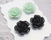 Mint Earrings Black Earrings Vintage Rose Earrings Mint Rose Studs Rose Stud Earrings Bridesmaid Gift Mint Bridal Jewelry Gift for Her