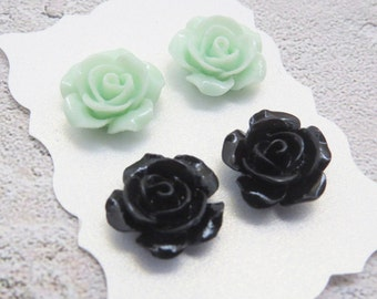 Mint Earrings Black Earrings Vintage Rose Earrings Mint Rose Studs Rose Stud Earrings Bridesmaid Gift Mint Bridal Jewelry Gift for Her
