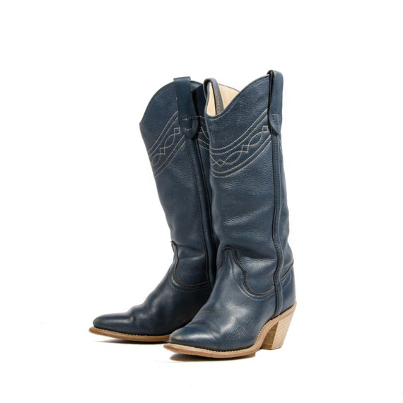 Women's Wrangler Cowboy Boots Navy Blue / Stacked Wood by ShopNDG