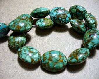 Mosaic Magnesite Turquoise Beads Germstone Oval 25MM
