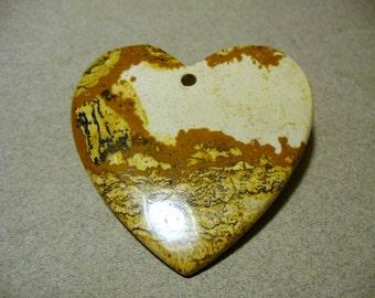 Picture Jasper Gemstibe Heart Pendant  Creams & Tans 50x50MM