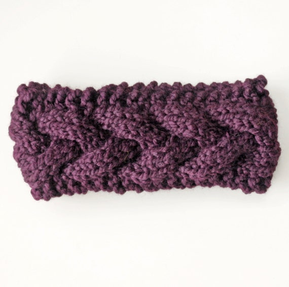 How To Knit Color Patterns : Eggplant Purple Chunky Knit Headband Winter Knit Headband Ear