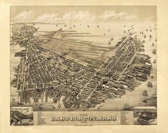 Vintage Map - East Boston 1879