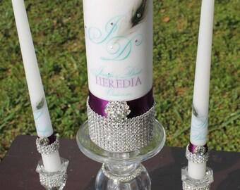 Unity Candle Set ....Peacock Pure Diamond, Unity Candle, Candle Holder, Wedding Gift, Wedding, Personalized Candle, Personalized gift, Love