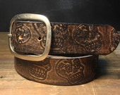 Leather belt - Sugar Skulls Vintage Aged Leather Belt  Handmade in USA