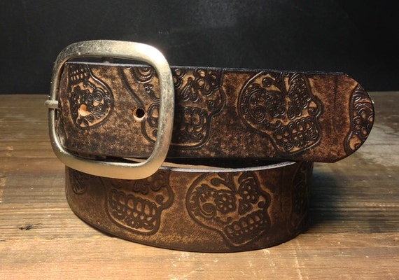 sugar skull vintage distressed aged leather belt handmade in