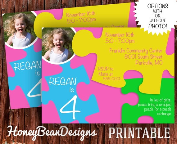 Puzzle Birthday Party Invitation Puzzles Puzzle Piece Add A Photo Option