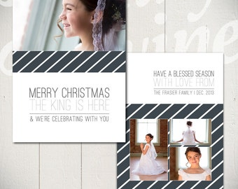 Christmas Card Template: Born in Bethlehem B - 5x7 Holiday Card Template for Photographers